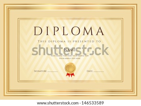 Certificate Diploma of completion design template background with abstract pattern gold border frame insignia Useful for Certificate of Achievement Certificate of education awards