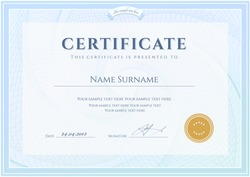 Certificate, Diploma of completion (design template, background) with guilloche pattern (watermark), border, frame. Certificate of Achievement, education, awards, scholarship, bachelor's degree, deed