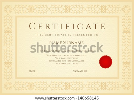 Certificate diploma of completion design template sample certificate diploma of completion design template sample background with guilloche pattern yelopaper Images