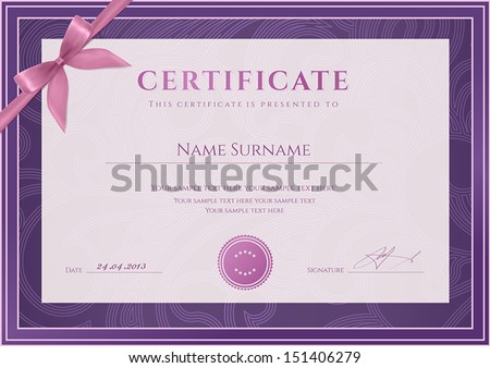 Certificate Diploma of completion template background Floral scroll swirl pattern watermark border frame bow For Certificate of Achievement Certificate of education awards winner