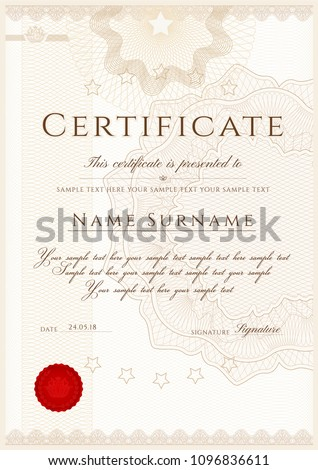 Certificate, Diploma of completion (Vertical design template, white background) with Frame, Border, light Guilloche pattern (watermark) and red emblem, wax seal. Useful for invoice template, deed