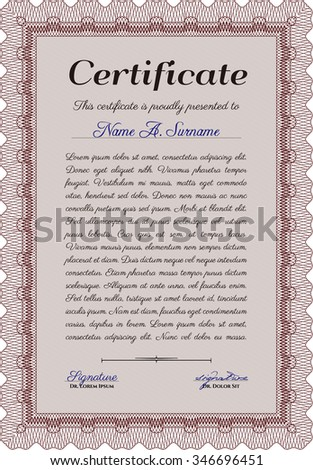 Certificate. Elegant design. With complex linear background. Money style.