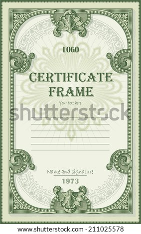 Certificate from dollar decor elements