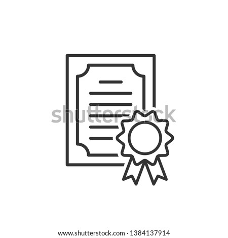 Certificate icon in flat style. License badge vector illustration on white isolated background. Winner medal business concept.