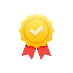 Certificate icon. Premium quality. Achievement badge. Profile Verification. Check mark icon. Vector check mark. Quality mark. Achievement award grant. Gold seal. Gold medal. Quality checking. Survey.