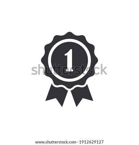 Certificate icon. Premium quality. Achievement badge. Quality mark. Award badge. First place. Achievement or award grant. Gold medal. Symbol of victory. Reward badge. Winner. Badge with ribbon. Level