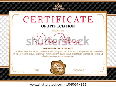 certificate in the official, solemn, elegant, Royal style in black and gold tones, with the image of the crown and gold wax seal on the background of chess black and white texture (horizontal format)