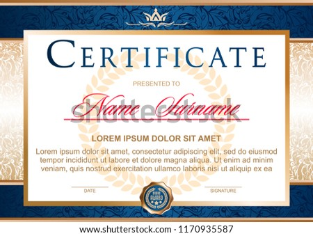certificate in the official, solemn, elegant, Royal style in blue and gold tones, with the image of the crown