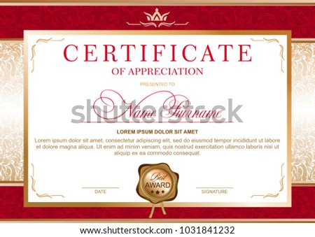 Certificate in the official, solemn, elegant, Royal style in red and gold tones, with the image of the crown and gold wax seal (horizontal format)