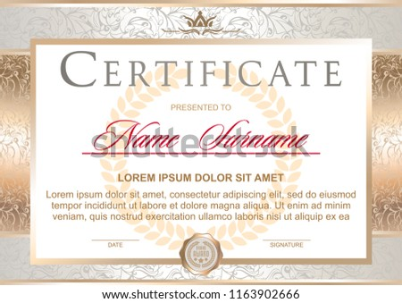 Certificate in the official, solemn, elegant, Royal style in white and gold tones, with the image of the crown(horizontal format)
