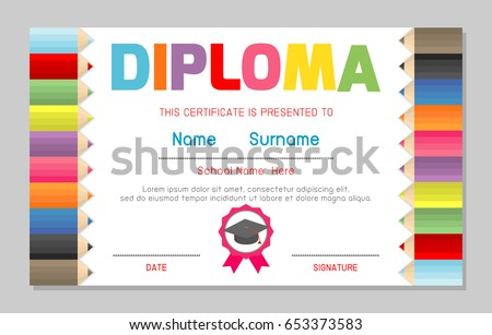 Kindergarten diploma template download free vector art stock certificate kids diploma kindergarten template layout space background frame design vector diploma template for yelopaper Image collections