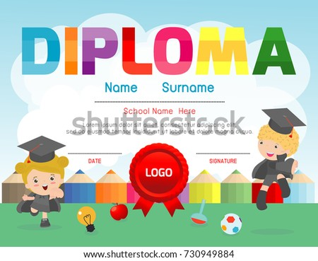 Certificate kids diploma, kindergarten template layout space background frame design vector.