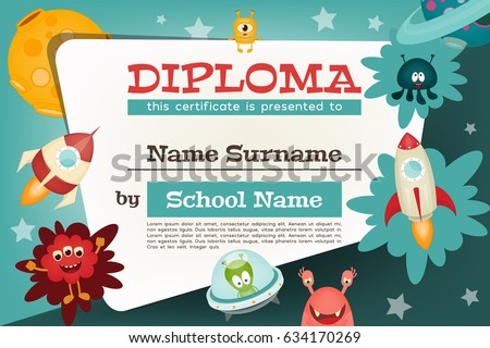 Certificate Kids Diploma. Space Theme - Cartoon Aliens and Galaxy Monsters with Shuttles, Rockets and Spaceships. Vector Illustration.