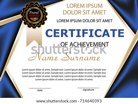 elegant blue qualification certificate design download free vector
