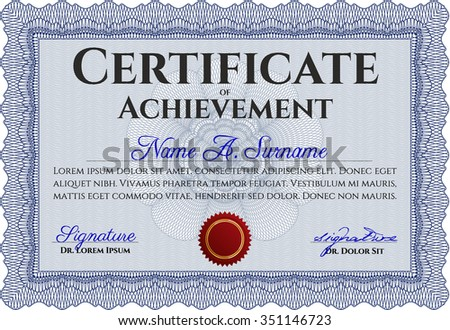Certificate of achievement. Money style.With background. Superior design.