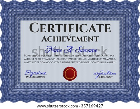 Certificate of achievement template. Cordial design. With linear background. Vector pattern that is used in currency and diplomas.