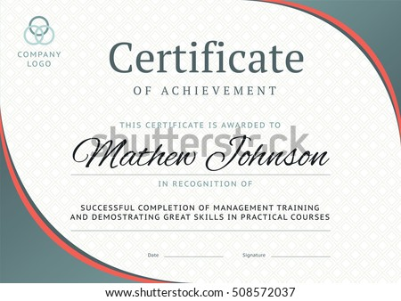 Horizontal certificate template design download free vector art certificate of achievement template design business diploma layout for training graduation or course completion yelopaper Image collections