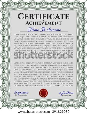 Certificate of achievement template. Design template. With guilloche pattern. Money design. Green color.