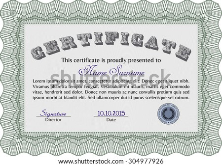 Certificate of achievement template. Detailed.Excellent design. With linear background.