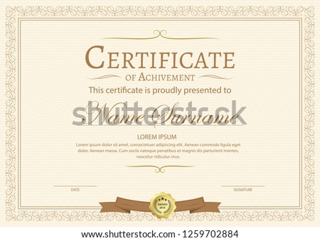 stock-vector-certificate-of-achievement-template-in-vector-with-applied-thai-line-in-yellow-gold-tone-vector