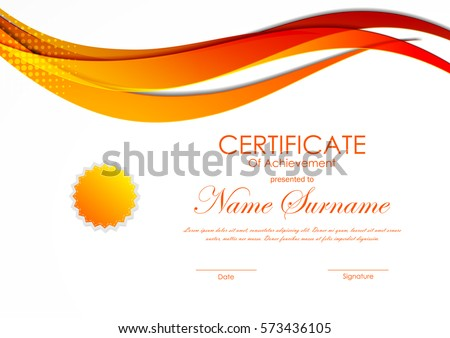 Certificate of achievement template with orange digital curved wavy light background and seal. Vector illustration