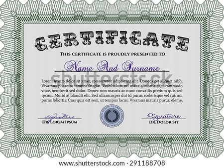 Certificate of achievement. Vector pattern that is used in money and certificate.Excellent design. With linear background.
