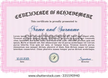 Certificate of achievement. With complex linear background. Nice design. Money style.