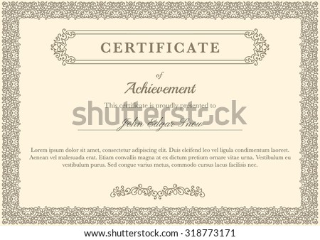 Certificate of achievement with vintage flourish elements. Detailed design elements. Decorative frame.
