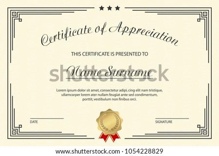Elegant appreciation certificate template design download free certificate of appreciation template elegant design for vintage diploma with medal and frame vector yadclub Gallery