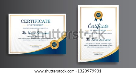 Certificate of appreciation template, gold and blue color. Clean modern certificate with gold badge. Certificate template with luxury and modern pattern. Diploma vector template