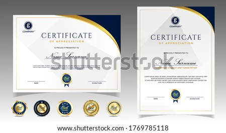 Certificate of appreciation template, gold and blue color. Clean modern certificate with gold badge. Certificate border template with luxury and modern line pattern. Diploma vector template