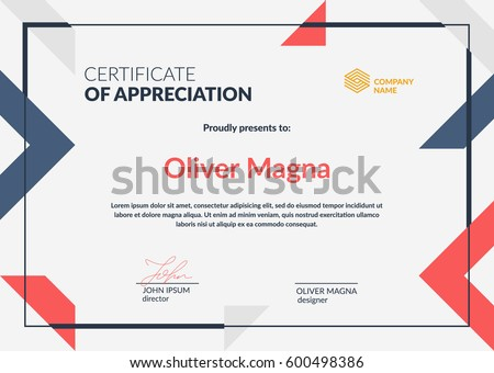 Certificate of Appreciation template.Trendy geometric design. Layered eps10 vector.