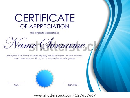 Elegant white and blue certificate diploma template download certificate of appreciation template with blue dynamic wavy vortex light background and seal vector illustration yelopaper Images