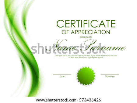 Certificate of appreciation template with green dynamic soft transparent wavy background and seal. Vector illustration