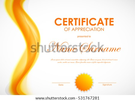 Certificate of appreciation template with orange dynamic bright soft smoky wavy background and seal. Vector illustration