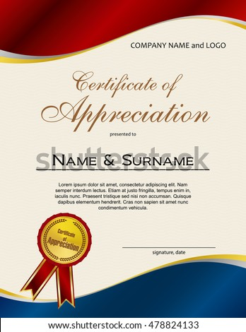 Royalty-free Certificate of Appreciation with medal… #473726098 ...