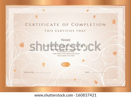 certificate of completion diploma design template background with gold floral swirl