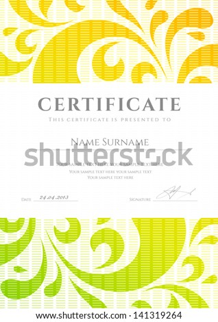 Certificate of completion template or sample background with colorful bright rainbow floral pattern swirl scroll shape Design for diploma invitation gift voucher ticket awards Vector