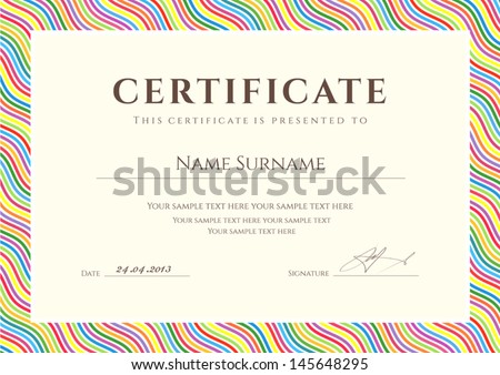 Certificate of completion template or sample background with colorful bright rainbow wave lines pattern border Design for diploma invitation gift voucher ticket awards Vector
