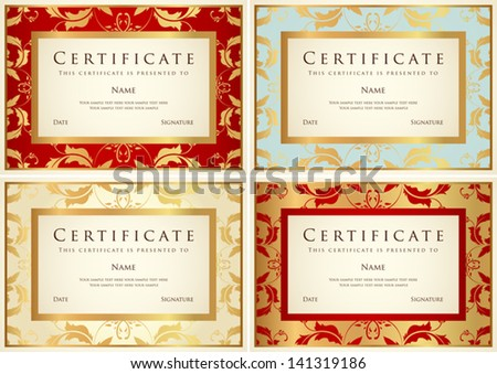 Graduation card vector template download vetores e grficos gratuitos certificate of completion template or sample background with flower pattern scroll stopboris Gallery