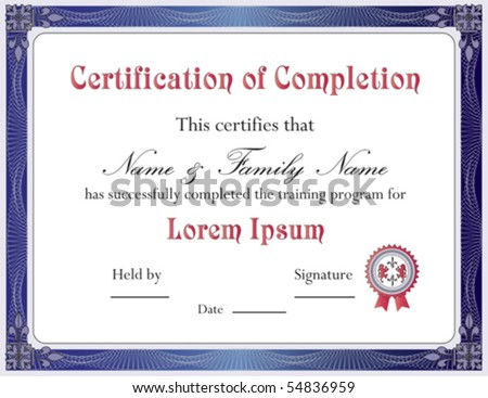Certificate Of Completion Template  Vector Format   54836959 1SuFxcPI