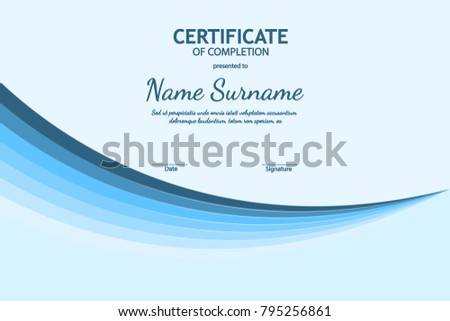 Elegant white and blue certificate diploma template download certificate of completion template with blue futuristic light wavy background vector illustration yadclub Gallery