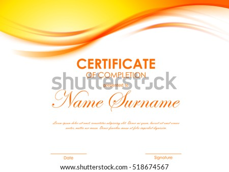 stock-vector-certificate-of-completion-template-with-dynamic-orange-soft-wavy-background-vector-illustration