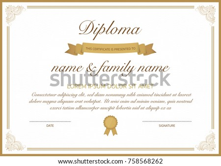 Certificate of diploma template with golden border.