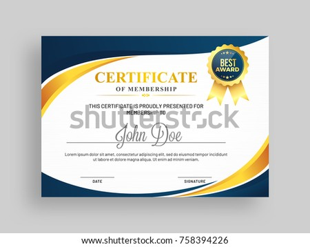 Certificate of membership template with blue and golden design and badge.