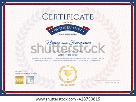 Certificate of participation template in sport theme with gold trophy seal on award wreath