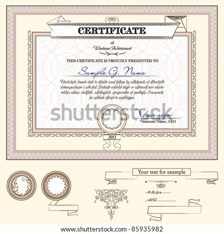 certificate or coupon template with detailed border and additional design elements