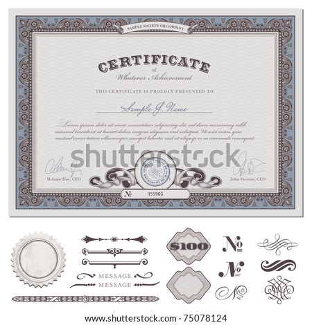 certificate or coupon template with detailed border and additional design elements (DIN format) - stock vector