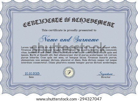 Certificate or diploma template. Beauty design. Vector pattern that is used in currency and diplomas.With complex background.