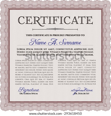 Certificate Or Diploma Template Complex Design Frame Certificate